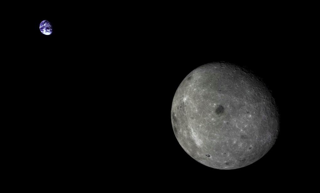 A view of the far side of the Moon and the distant Earth, captured by the service module for the 2014 Chang'e 5-T1 mission.