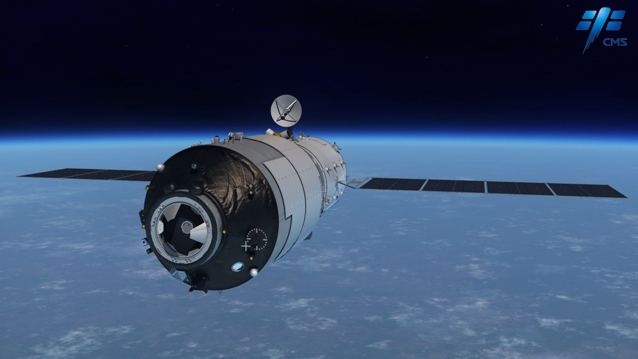 A rendering of the Tiangong-1 space lab in orbit.