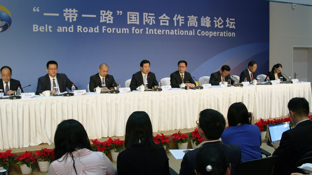 A session at the Belt and Road Forum which begun on Sunday.