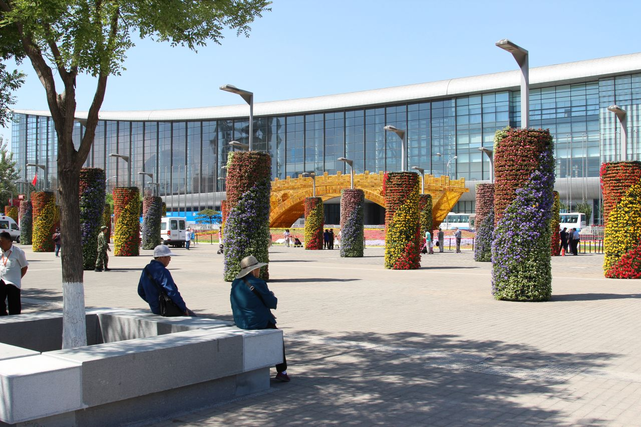 Flowers used to decorate the outside the National Convention Centre.