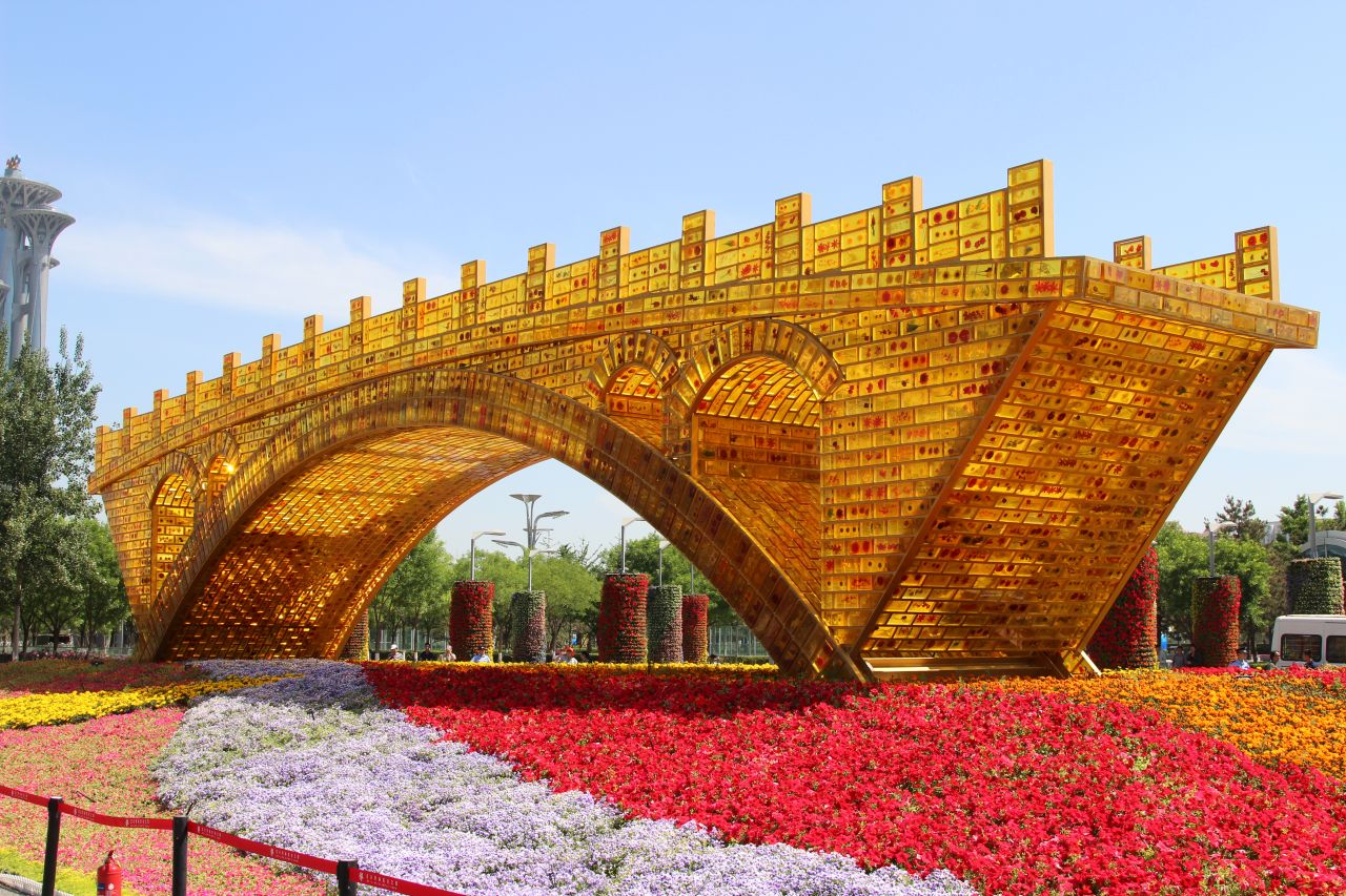 The newly installed 'Golden Bridge of Silk Road' structure outside the National Convention Centre.