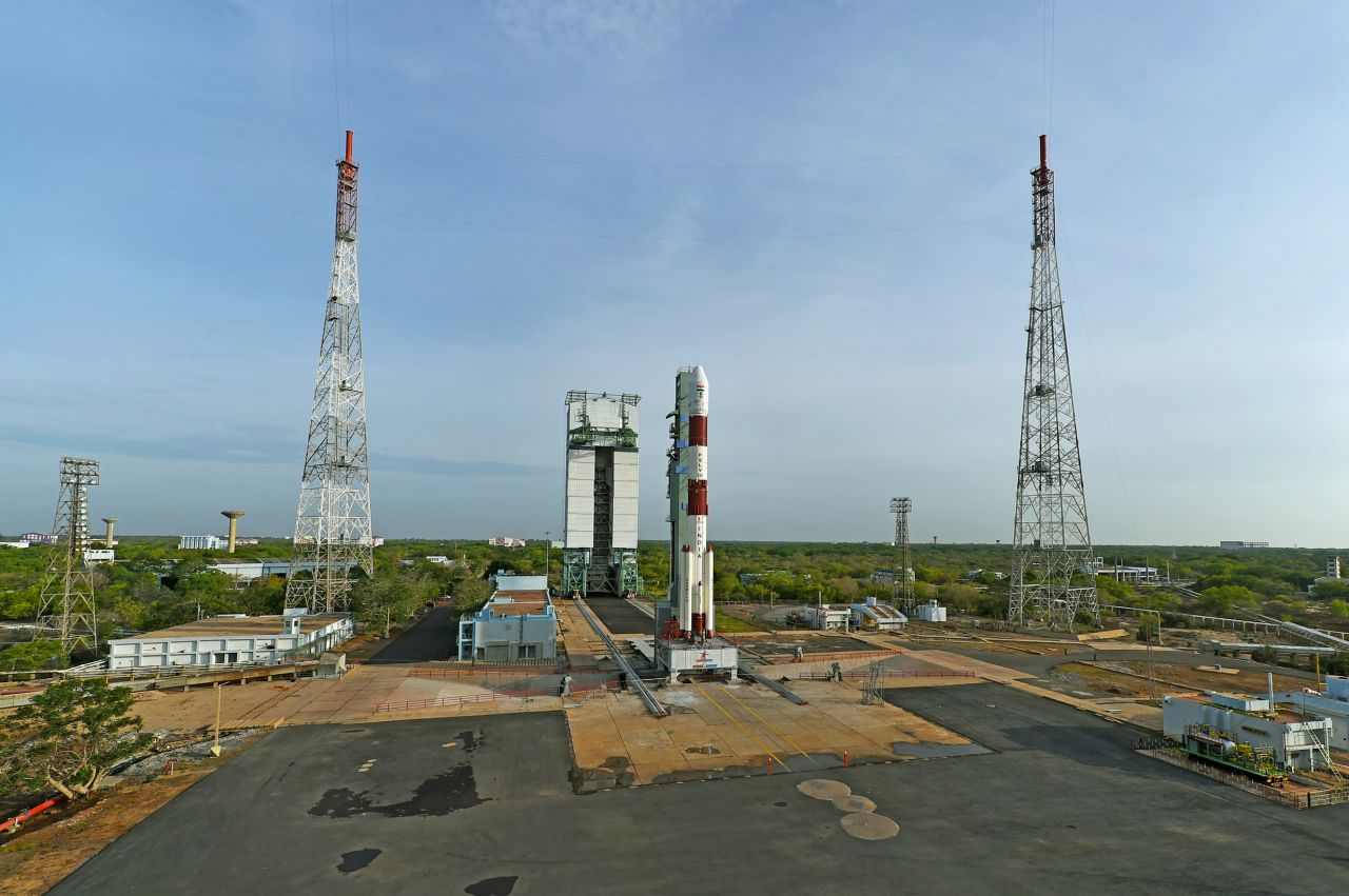 The fully integrated PSLV-C38 on the pad.