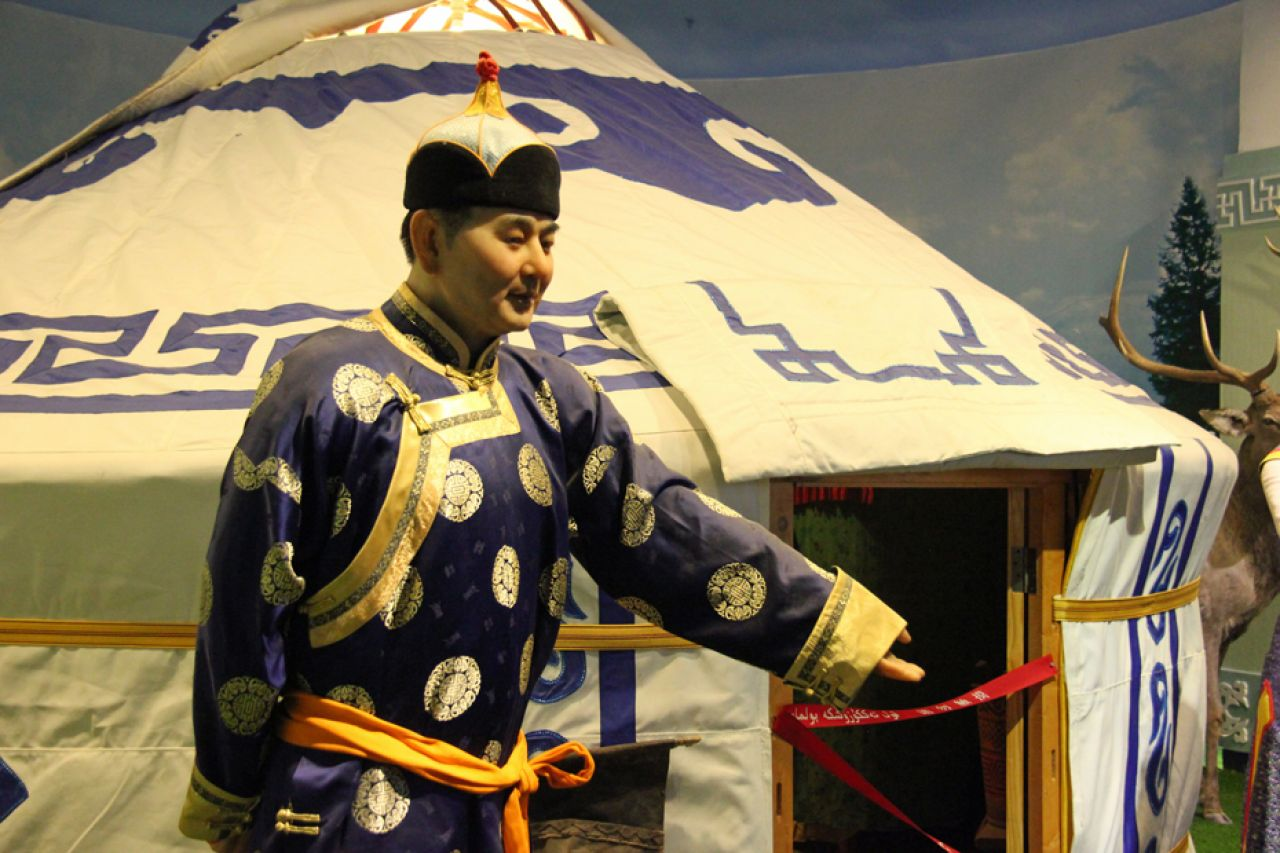 The Mongol yurt is a portable home built from animal skins or felt anon a wooden structure.