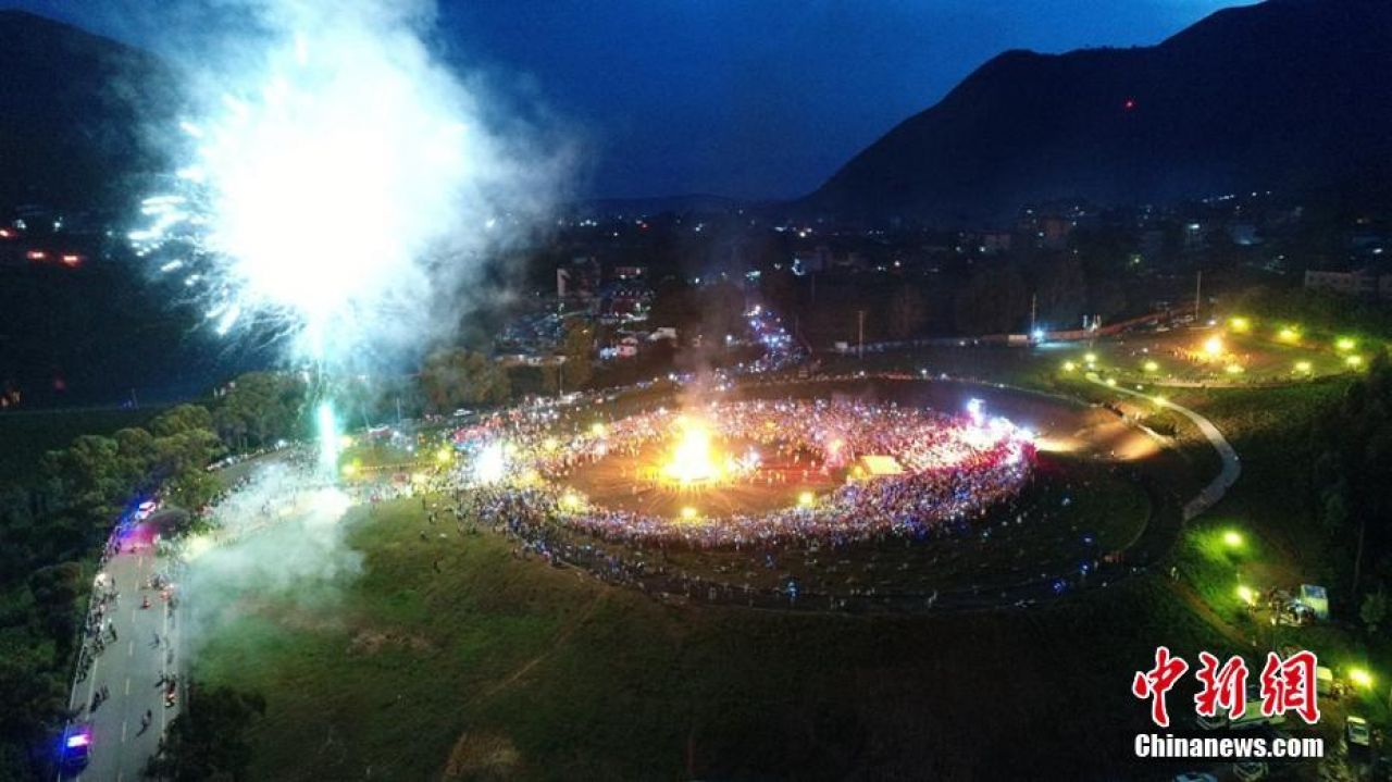 Fireworks at Torch Festival, held on the 24th or 25th of the sixth month in the Yi calendar.