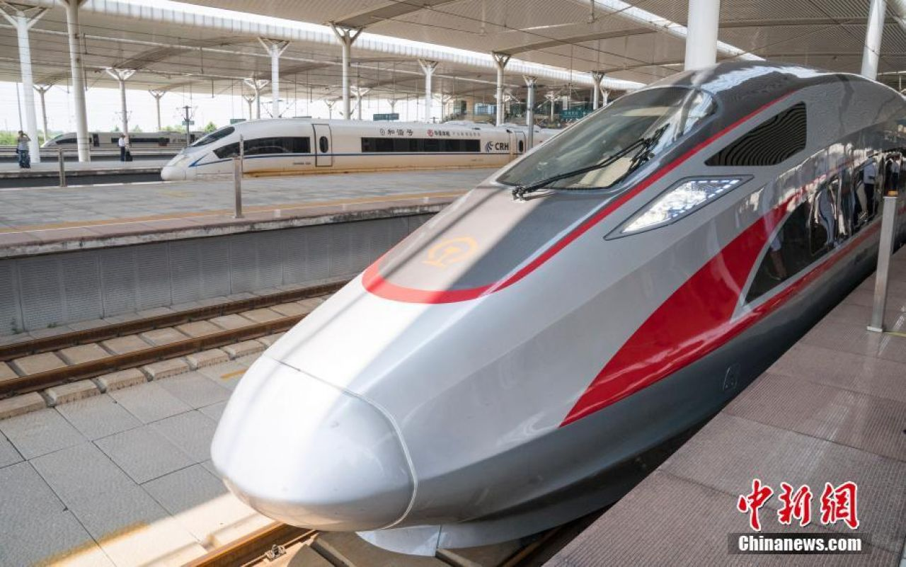 China's newly launched high speed train Fuxinghao, meaning