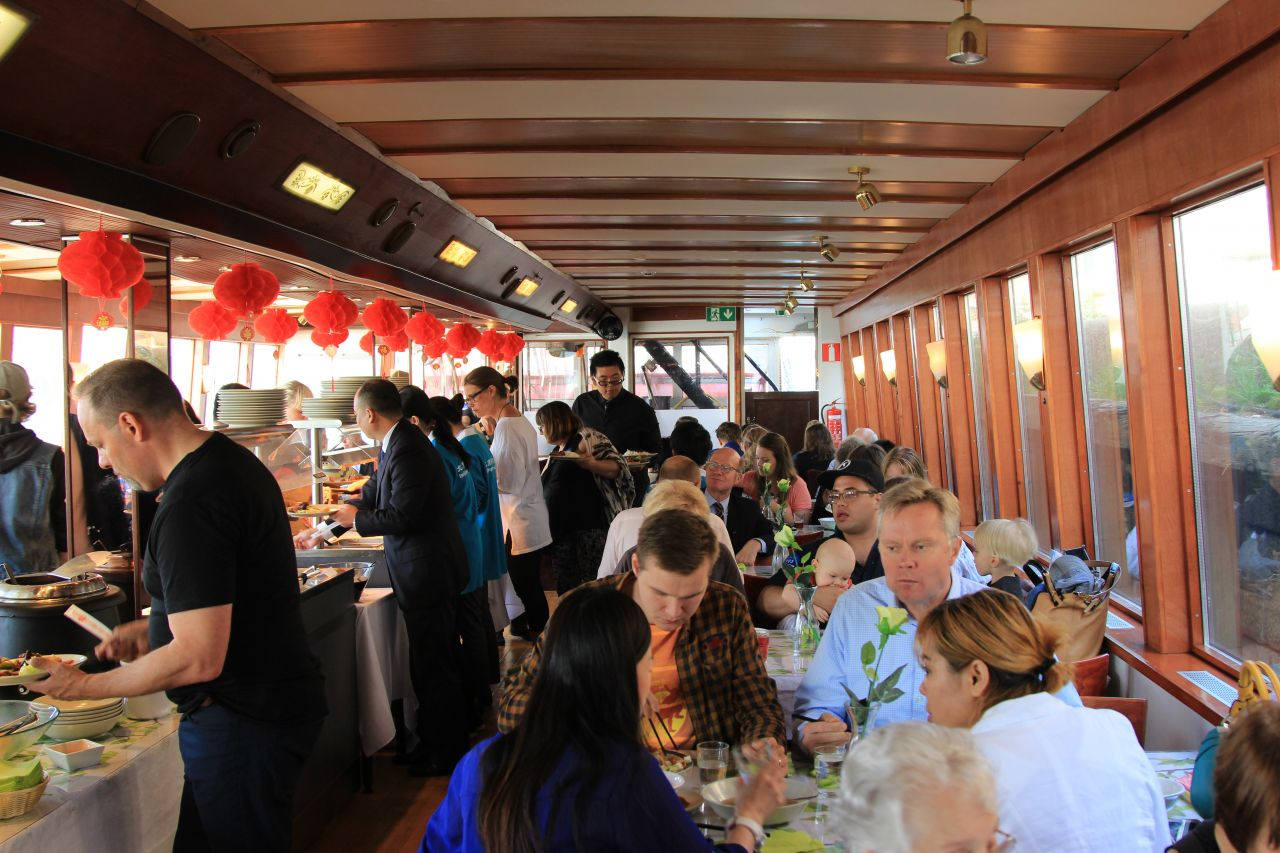 Following the event, guests dined in the ship's hull.