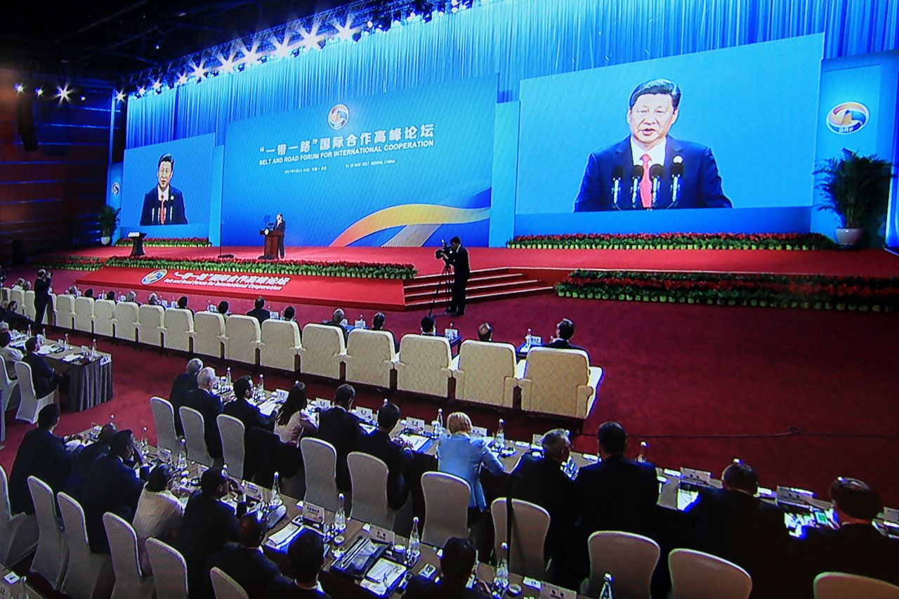 Chinese President Xi Jinping speaking at the opening ceremony of the Belt and Road Forum in Beijing on May 14, 2017.