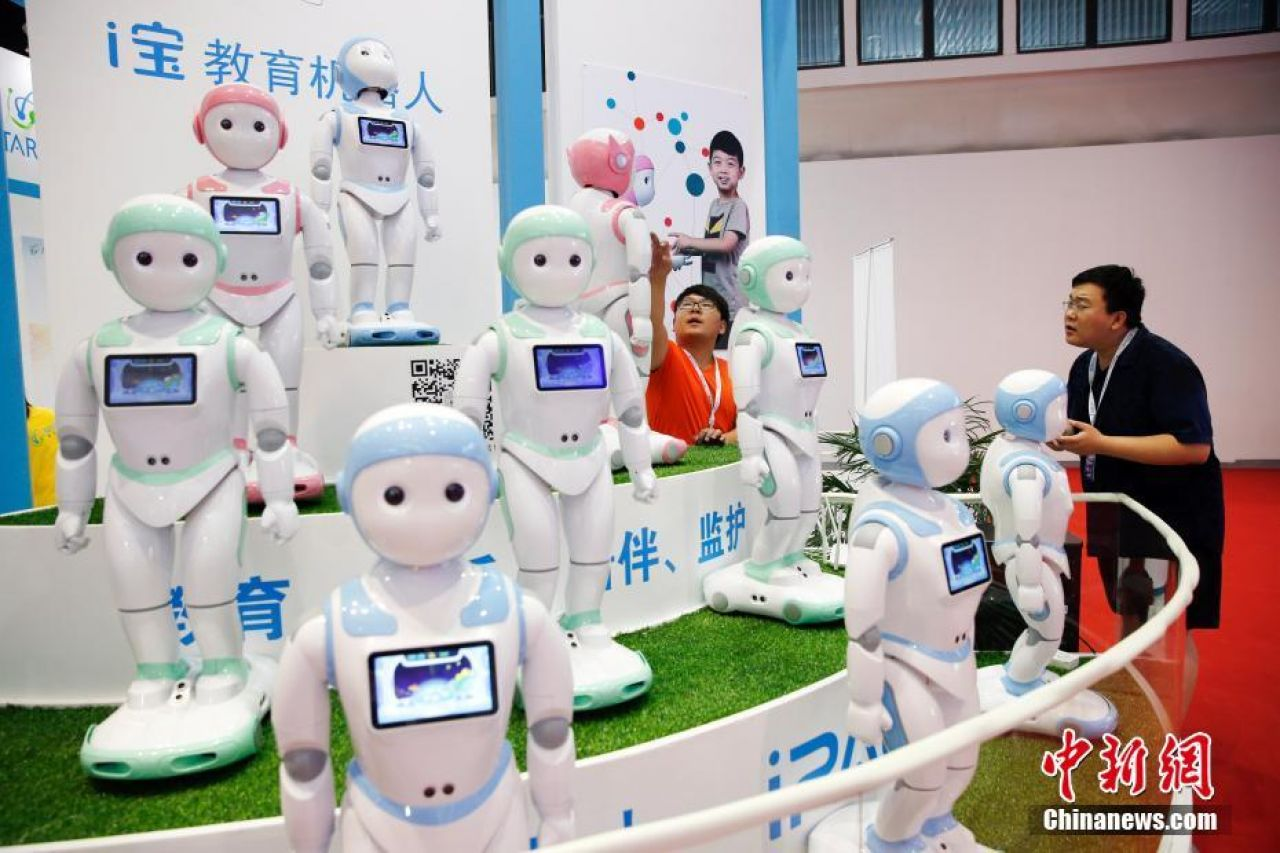 Education robots on display at the 2017 World Robot Conference in Beijing.