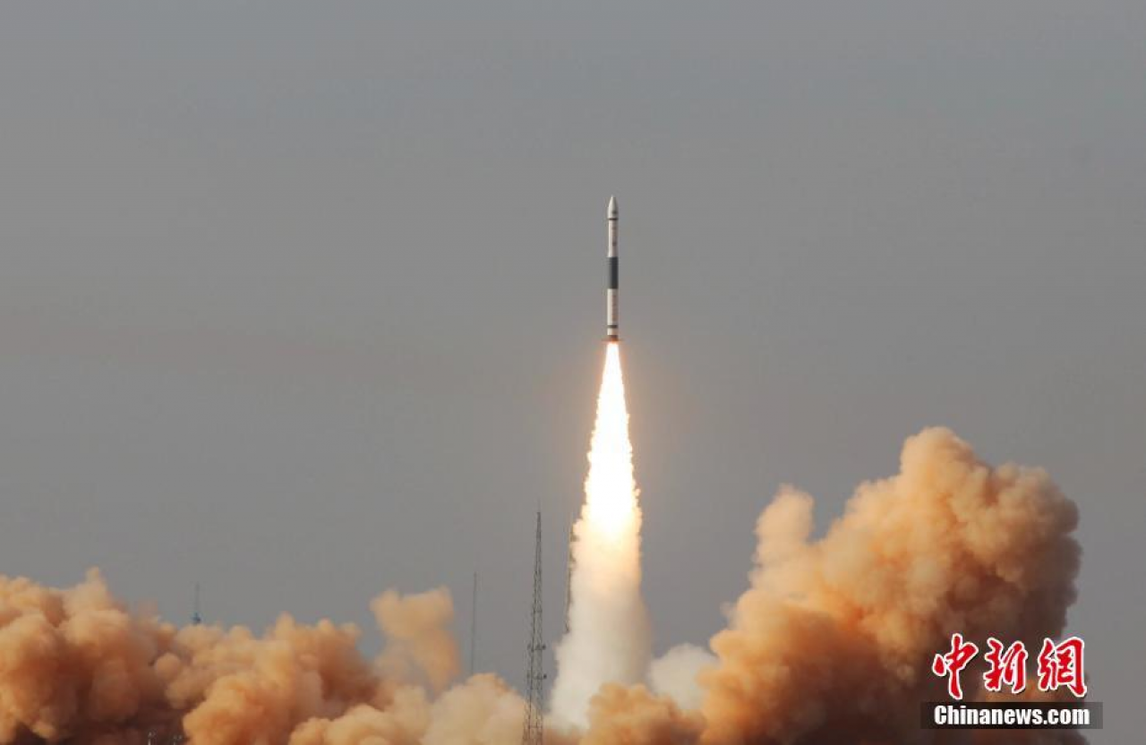 The first Kuaizhou-1A lifts off from the Gobi Desert at 04:11pm UTC on January 9, 2017.