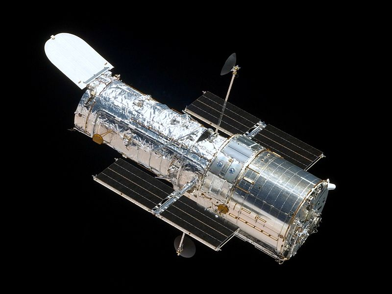 The Hubble Space Telescope as seen from the departing Space Shuttle Atlantis, flying STS-125