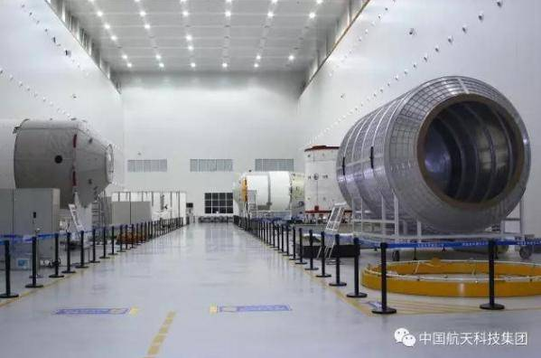 Tianzhou-1 and Tiangong-2 components at the spacecraft Assembly, Integration and Test (AIT) Centre in Tianjin (CASC).