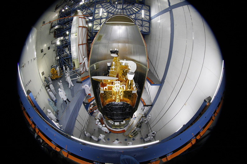Belintersat-1, based on the DFH-4 satellite bus, inside the payload fairing ahead of launch.