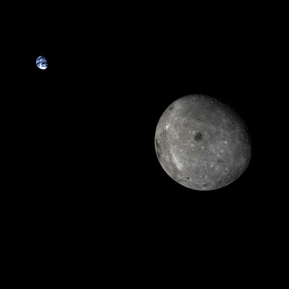 The far side of the Moon and Earth as seen by the Chang'e-5 Test mission service module (SASTIND).