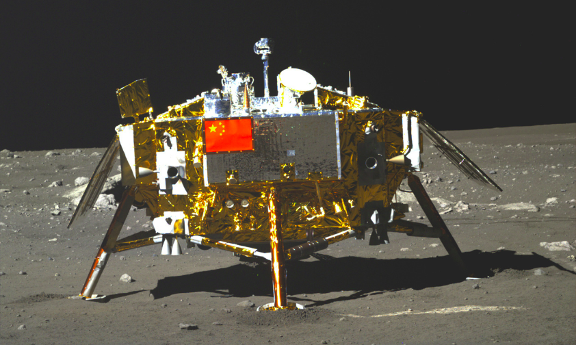 The Chang'e-3 lander, imaged by Yutu's PCAM panoramic camera (CAS).