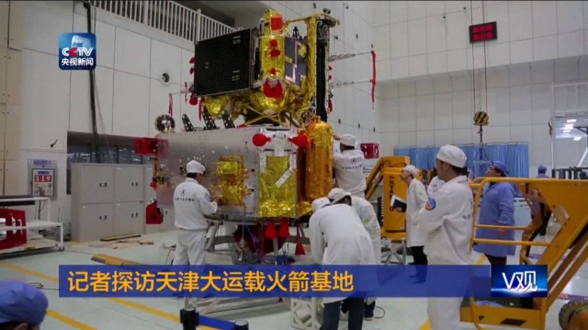 The Chang'e-5 lander and ascent modules in January 2017 (CCTV).