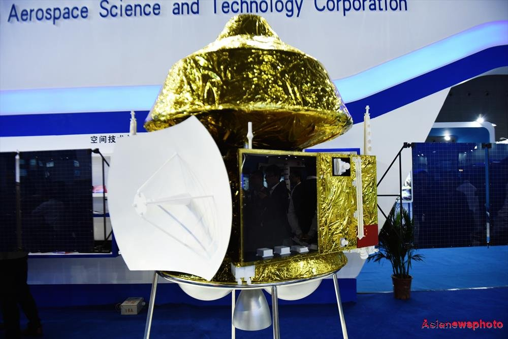 A model of China's Martian probe unveiled by CASC in November 2015 in Shanghai (Credit: China Daily/Long Wei).