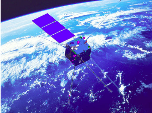 A rendering of the Zhangheng-1 satellite (CSES).
