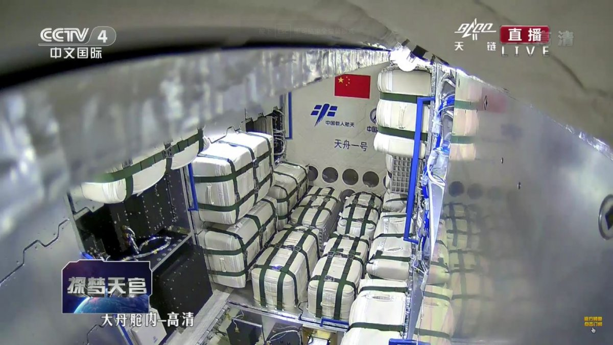 A view of the inside Tianzhou-1 and its cargo while in orbit (Framegrab/CCTV).