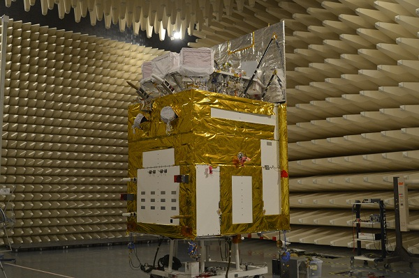 HXMT in an anechoic chamber for testing (CAS/IHEP).
