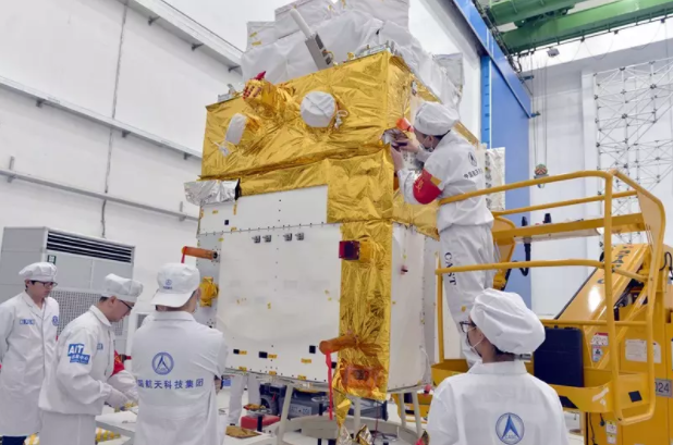 The HXMT satellite under development (CASC).