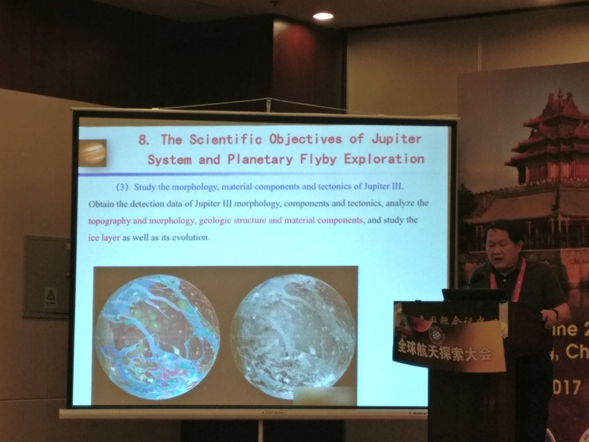 Li Chunlai outlines science goals for a visit to Ganymede (Andrew Jones/gbtimes).