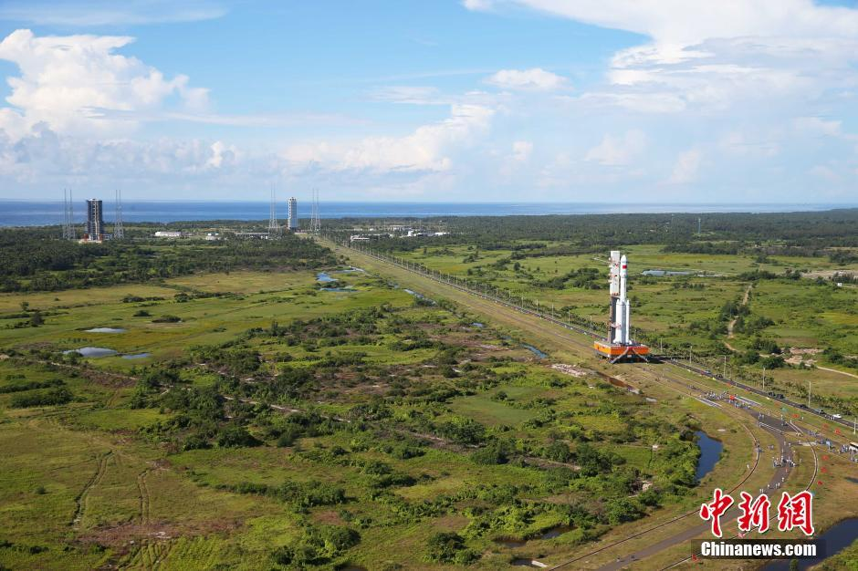 Long March 7 being rolled out to the LC-201 launch pad at Wenchang.