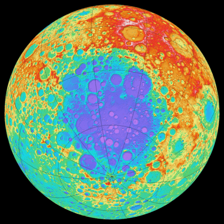 A colour-coded topographical map of the far side of the Moon showing the South Pole-Aitken Basin, with blue indicating lowest areas, red the highest (NASA).