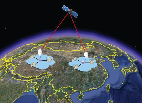 Artist's image of China's QUESS satellite and ground stations (Image: NSSC).
