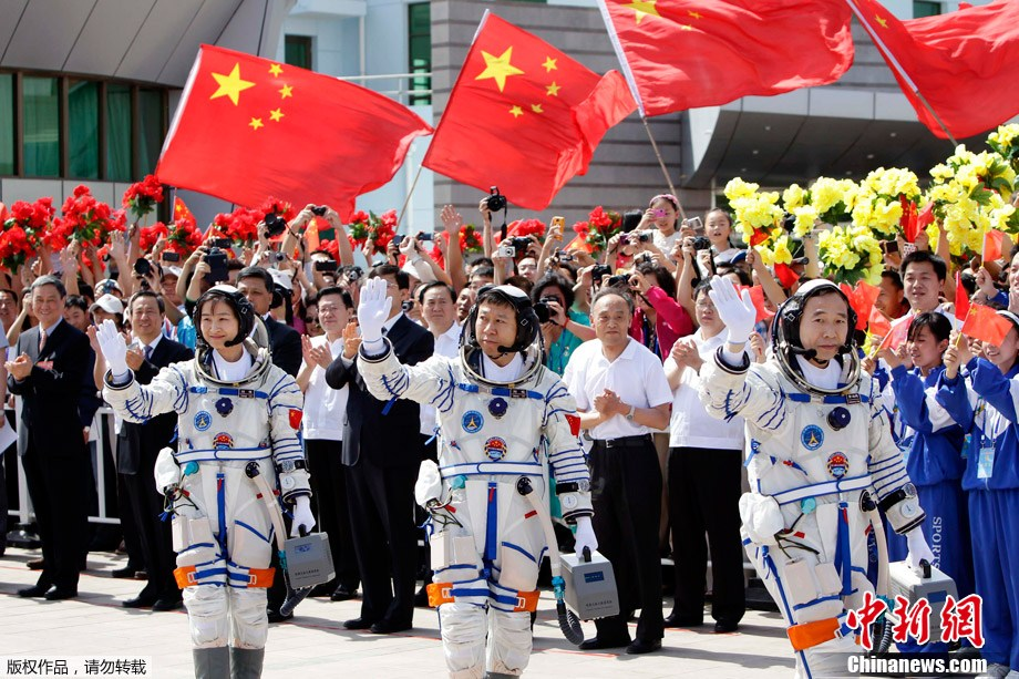 The crew of Shenzhou 9, including Liu Yang, China's first woman in space, ahead of launch on June 16, 2012