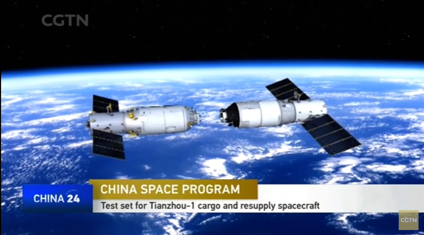 A rendering of Tianzhou-1 (left) and Tiangong-2 space lab preparing to dock in orbit.