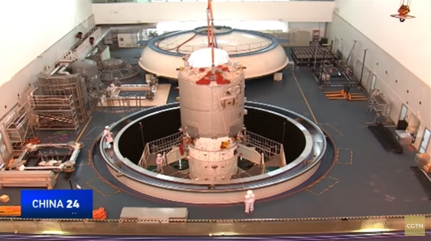 Above: Tianzhou-1 undergoing testing at the AIT centre in Tianjin, North China (CGTN/Framegrab).