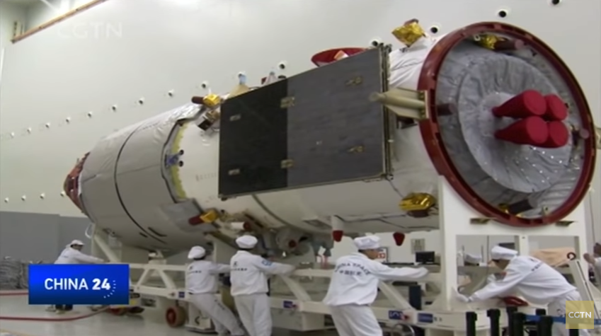 Tianzhou-1 undergoing testing at the AIT centre in Tianjin, North China (CGTN/framegrab).