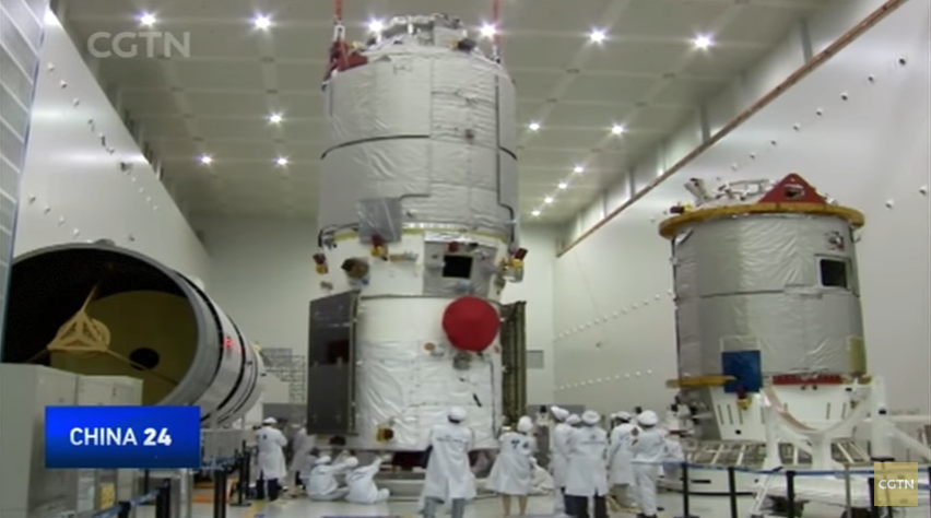 Tianzhou-1 undergoing testing before being shipped to Wenchang for launch (CGTN/framegrab).