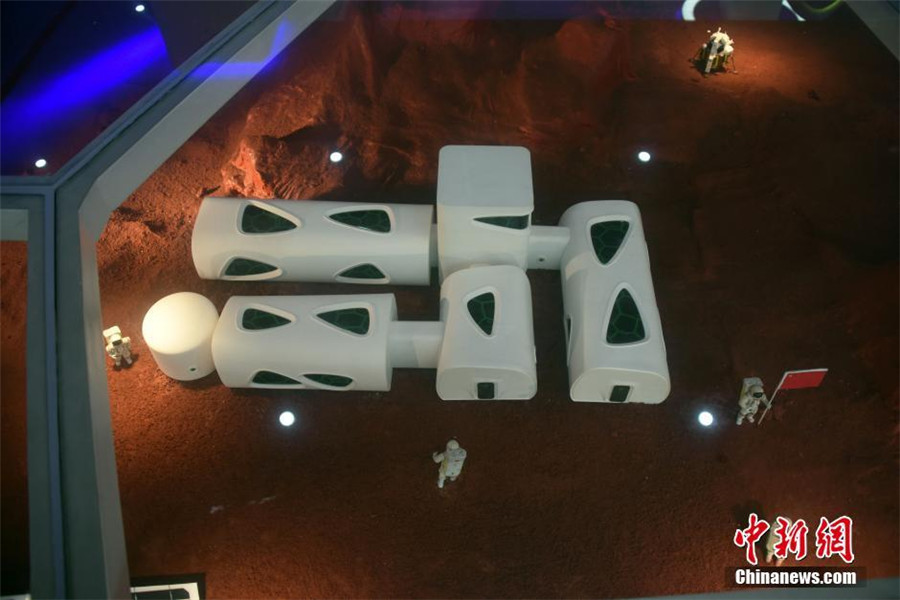 A model of the sealed space capsule in Shenzhen.