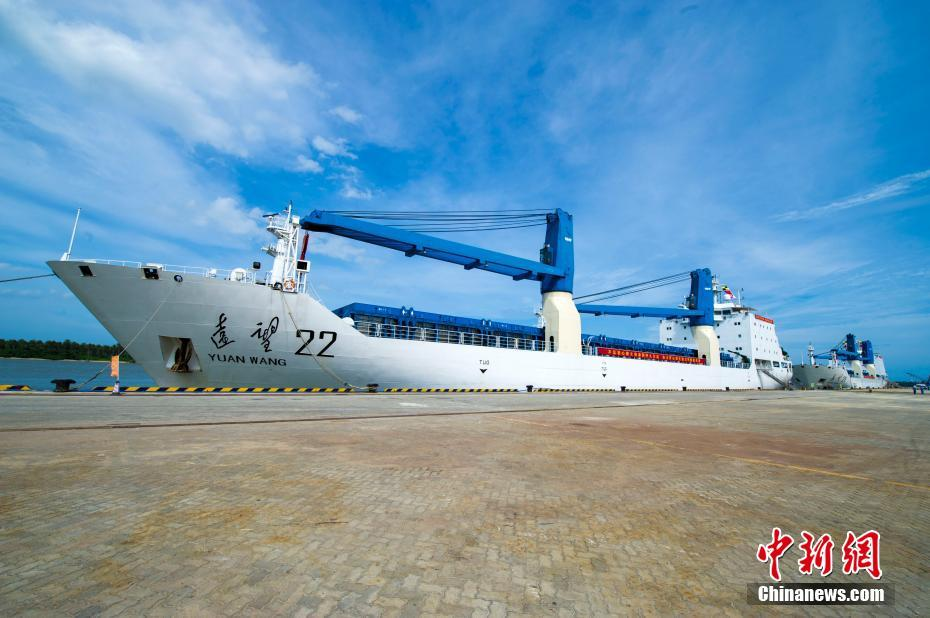 Yuanwang 21 and 22 docked at Qinglan Port, Wenchang on September 1.