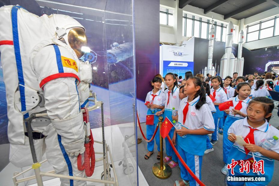 A Fei Tian space suit on display at Wenchang.