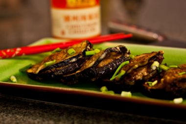 Fried eggplant slices, stuffed with pork