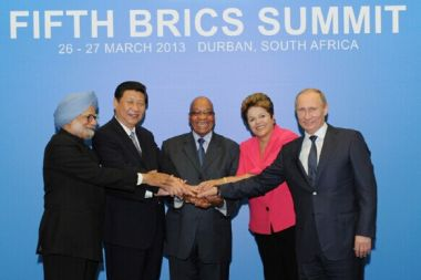 Leaders look to set up development bank at BRICS Summit