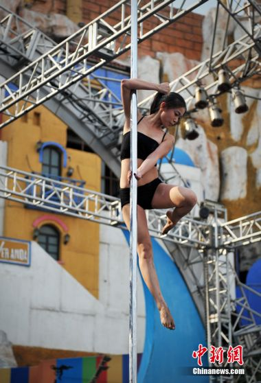 International pole dance contest heats up in Beijing