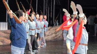 The Chinese ballet armed with rifles, pistols and swords