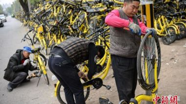 Bicycle-sharing creates 100,000 jobs in China