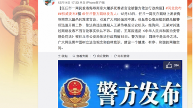 Chinese netizen detained for insulting remarks toward Nanjing Massacre victims