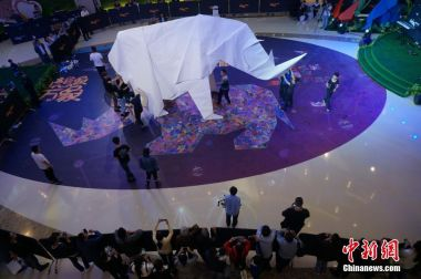 Chinese artist makes world's largest origami rhino