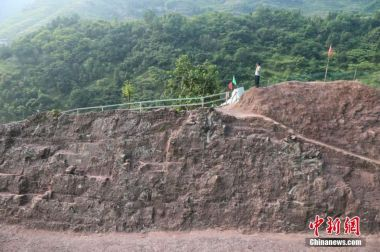 Massive dinosaur fossil wall found in SW China.
