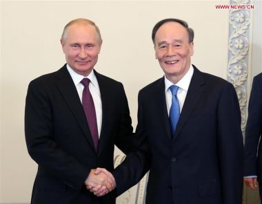 Putin and Chinese Vice President Wang Qishan meet to boost bilateral ties