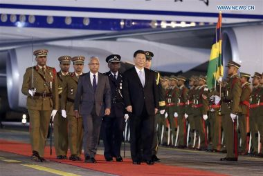 Chinese President Xi Jinping arrives in Mauritius for friendly visit