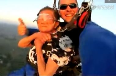 Viral video: 81-year-old granny goes skydiving for first time