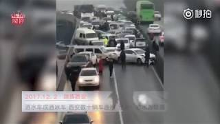 Street sprinkler in sub-zero weather causes 38-car pileup in central China