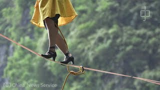French woman wins high heel slackline competition in China